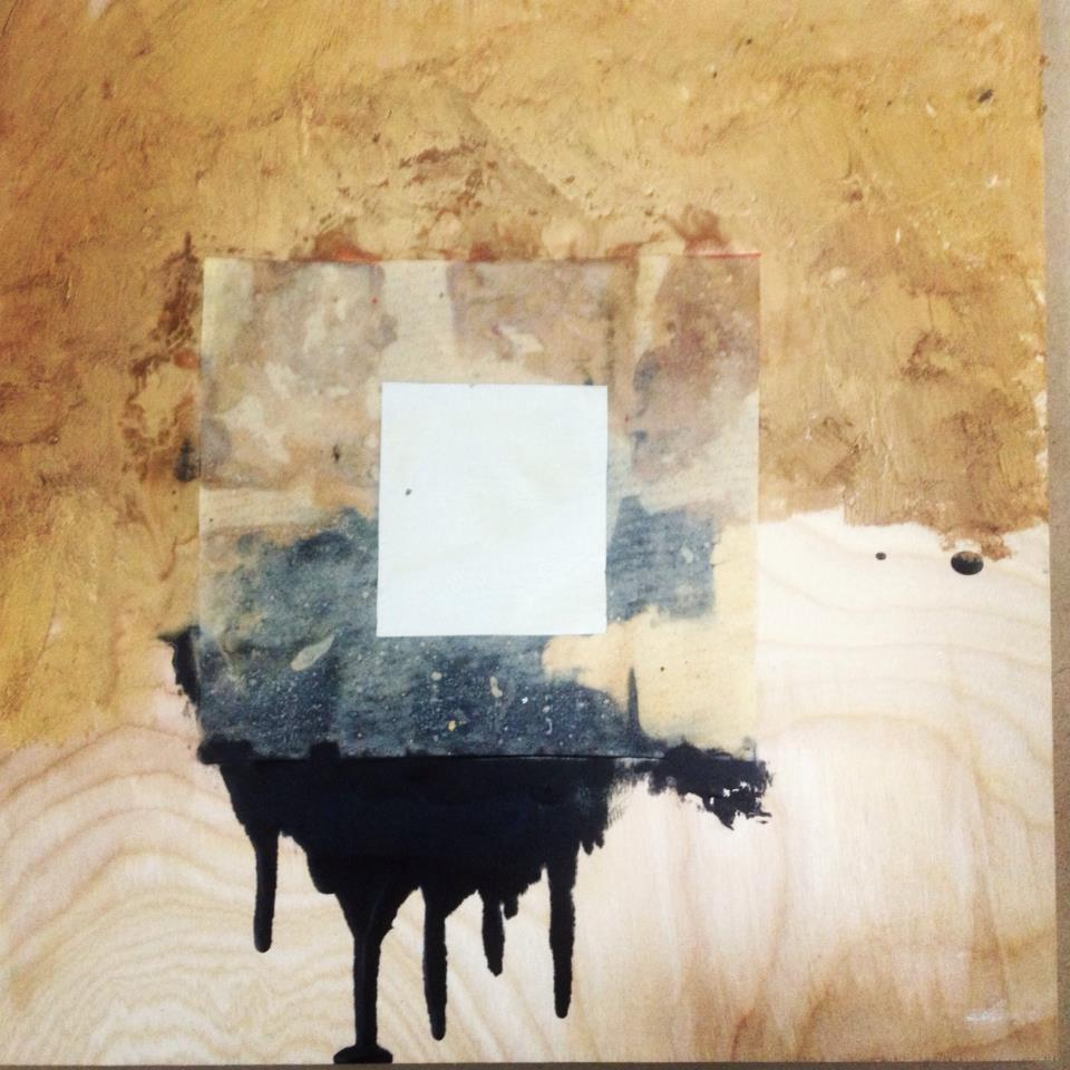 "Clear Horizon  14"" x 14"", After Malevich, Korean Death Paper, oil, wax encaustic, on wood panel"