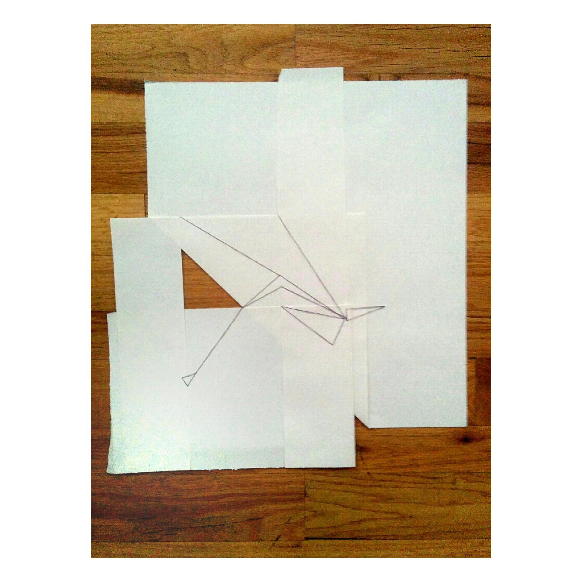 "Triangle Illusion Full  Irregular ~17"" x 17"", paper, wood, and thread"