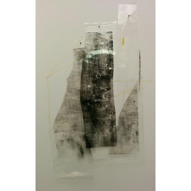 Untitled  Irregular ~2.5 ft x 1.7 ft, durlar, artist tape, oil based printmaking ink, and amber heat treated tape