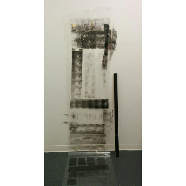Untitled  Multi-pieced ~2 ft x 12 ft, 3ft piece wood leaning, durlar, oil based prink making ink, and amber heat treated tape