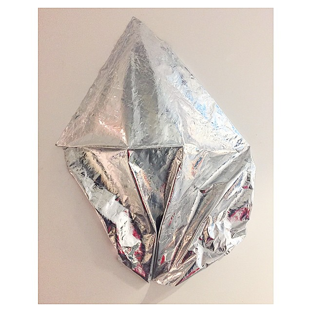 Reflective Dreamscape  Irregular shape (approximately 4 ft x 3.5 ft x 1.5 ft) Rag and Bone silver metallic fabric