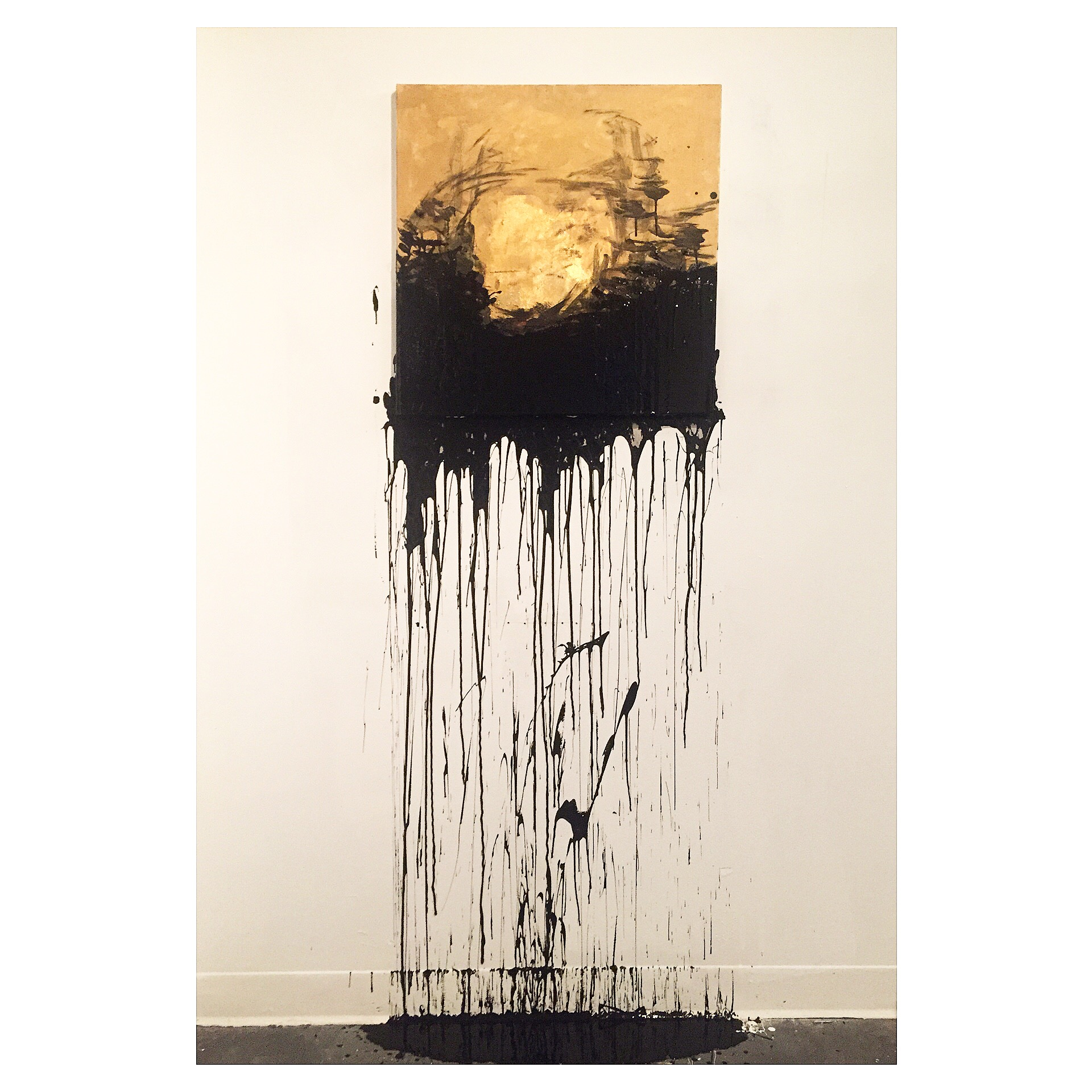 EscapingDreamscape  Installation painting consisting of oil paint, gold leaf, latex black paint, and stretched canvas.
