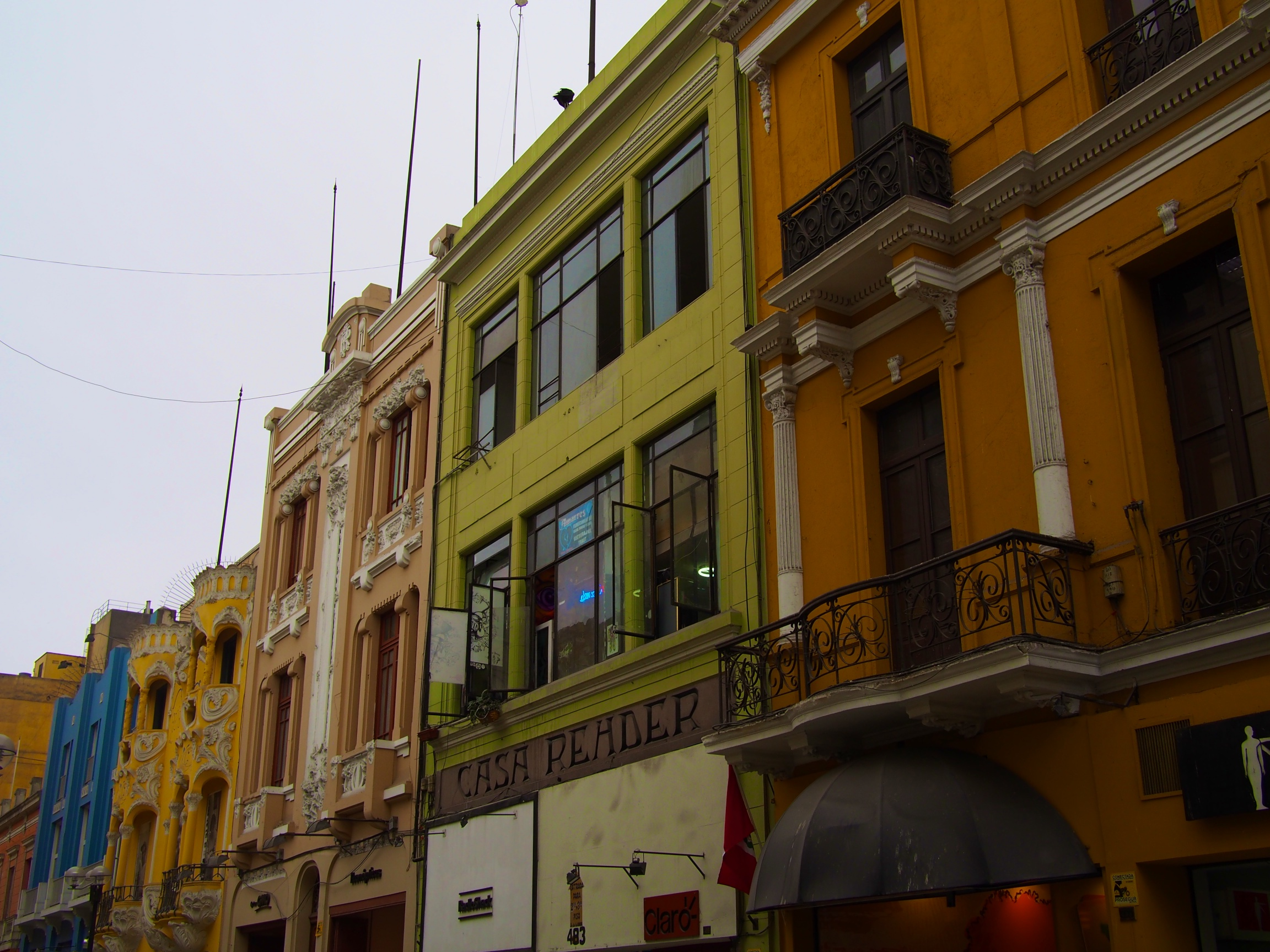 Some of the colorful buildings lining Lima's city center