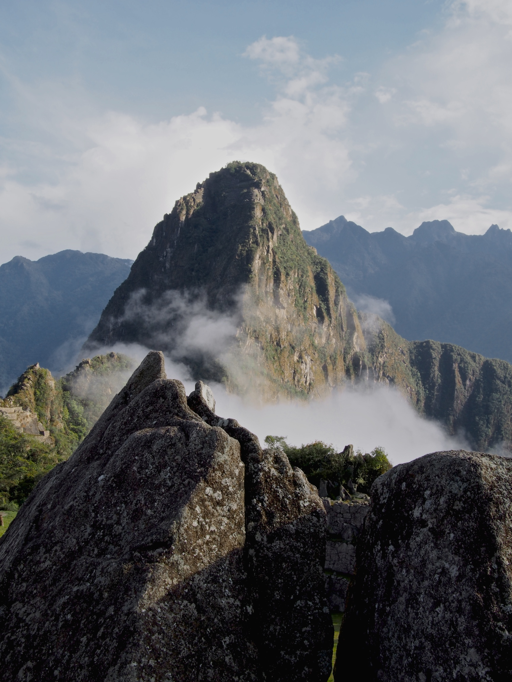 Rock formation which mirrors the actual landscape with Wayna Picchu (also seen in the background) and the river that runs alongside of it