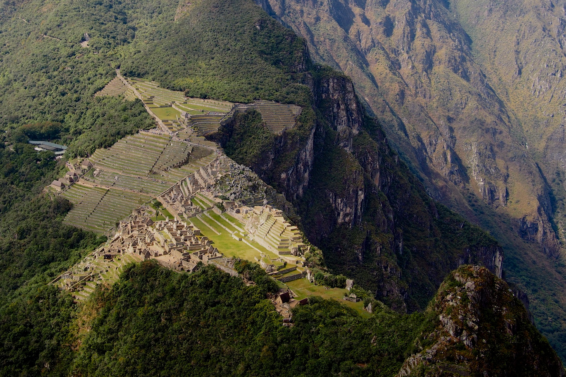 View of Machu Picchu from Wayna Picchu. We were 2 of the lucky 400 that get to climb up and see this view everyday. The road in the picture below is the one buses use to get up to Machu Picchu. That means that the steps up cut right across in a straight line resulting in some sore legs...