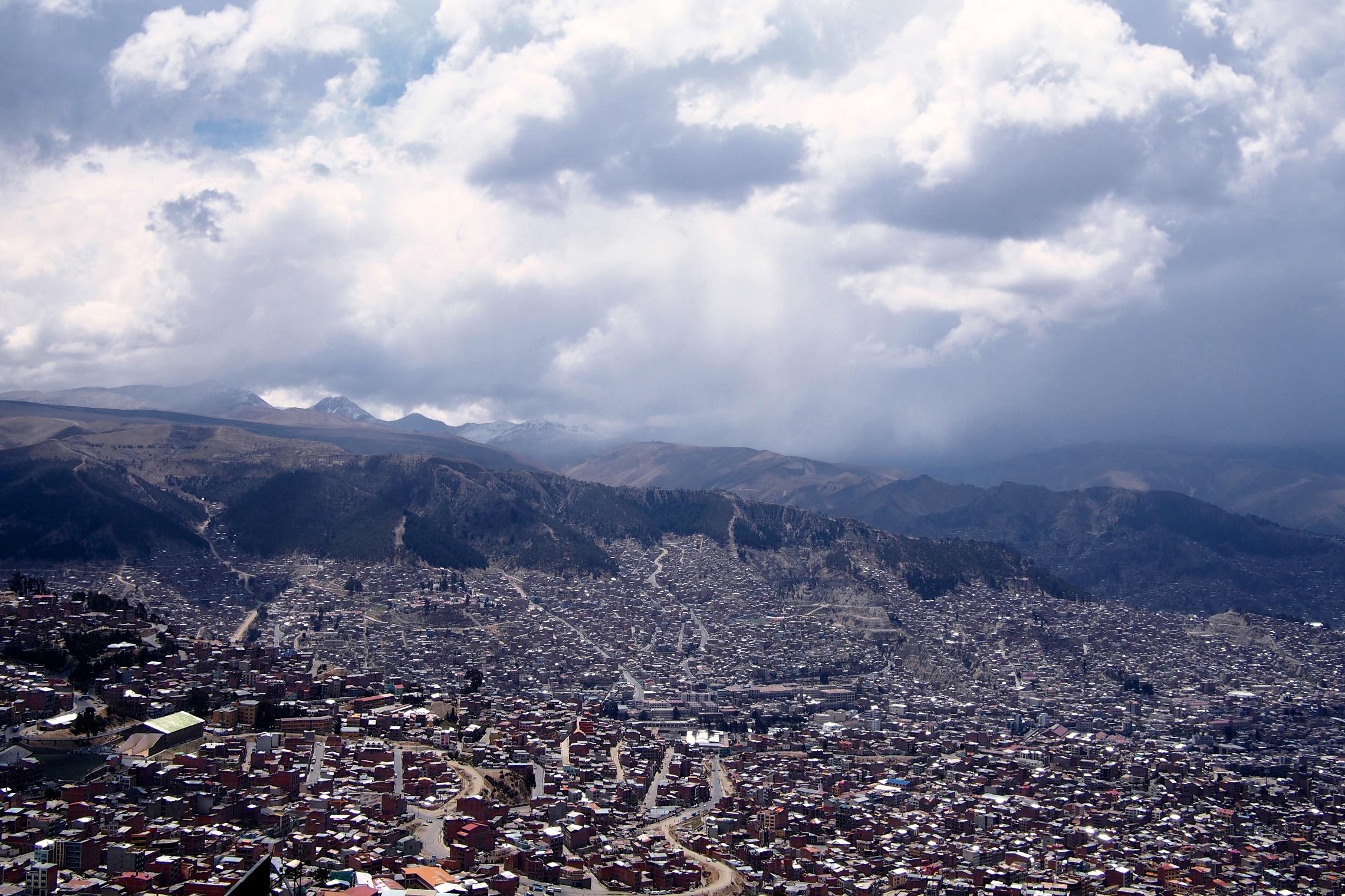 View of La Paz from the market in El Alto
