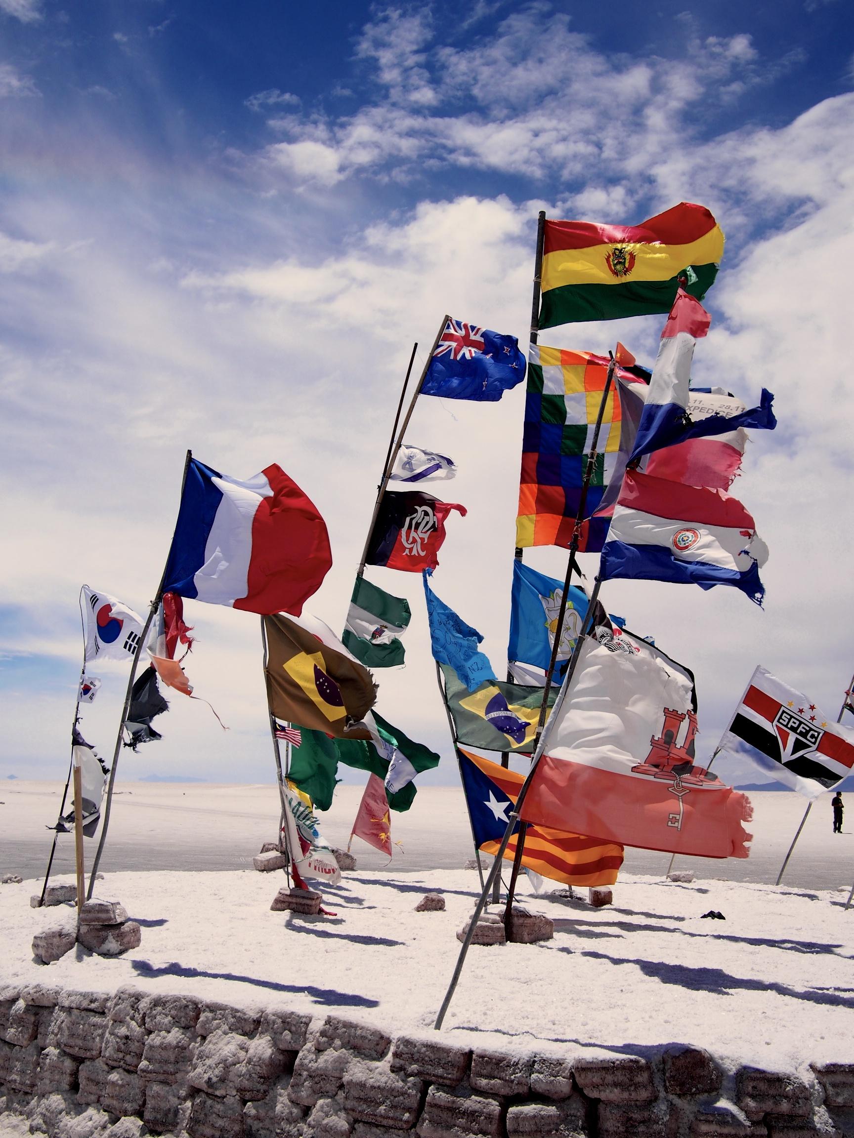 World flags outside Hotel de Sal,the original salt hotel