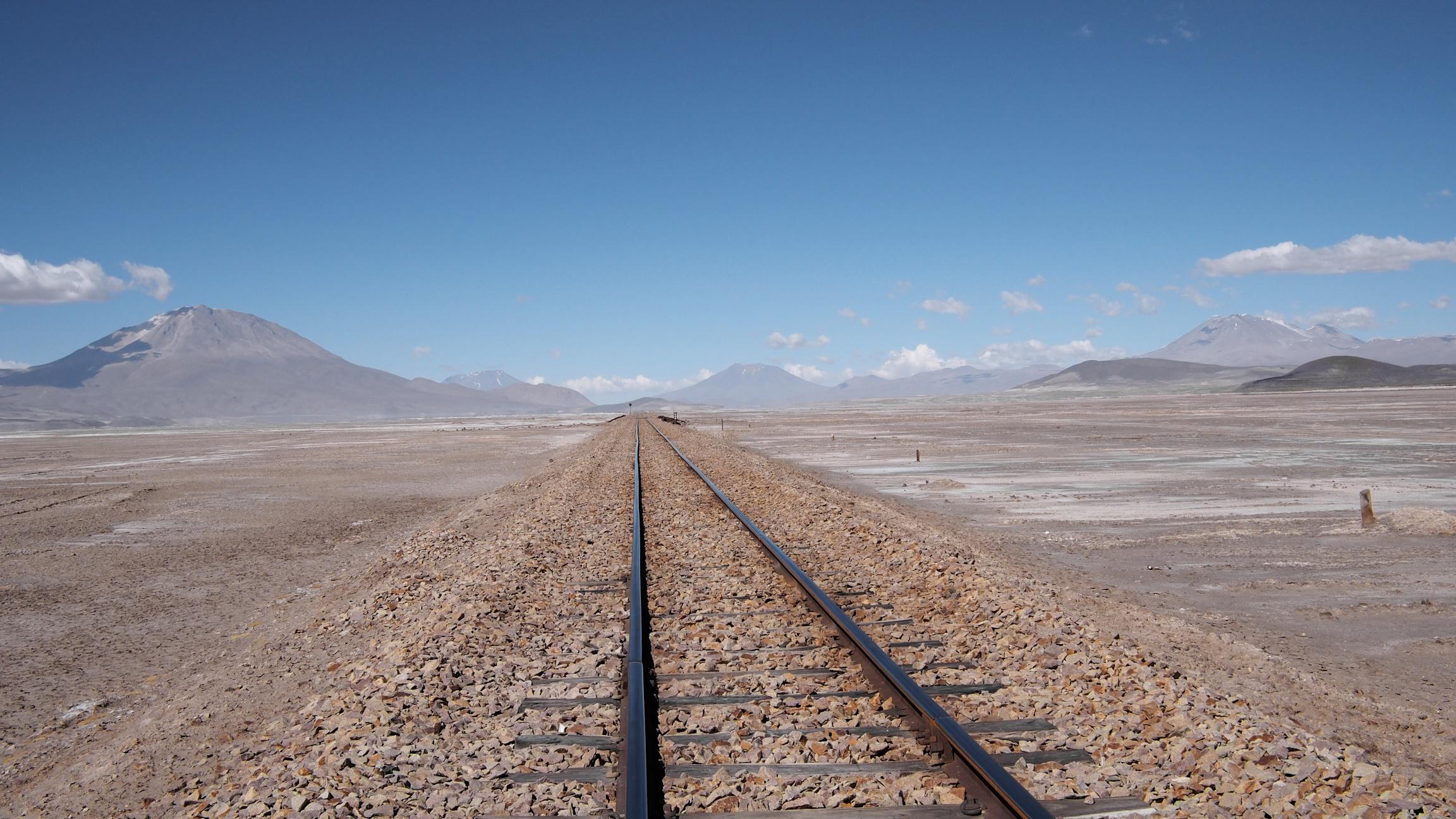 Abandoned railroad tracks in theChiguana desert