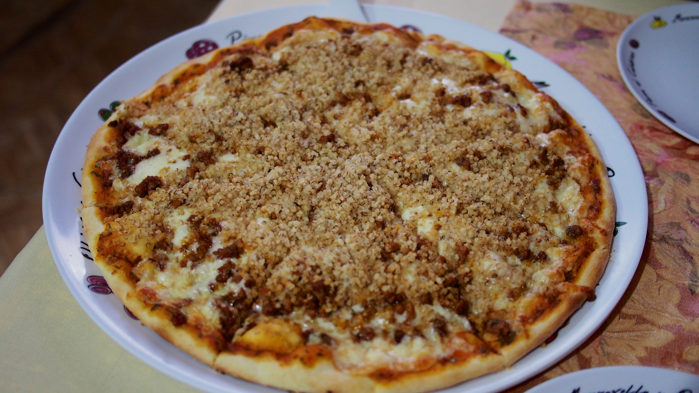 A perfect end to our salt flat tour: a quinoa and alpaca pizza