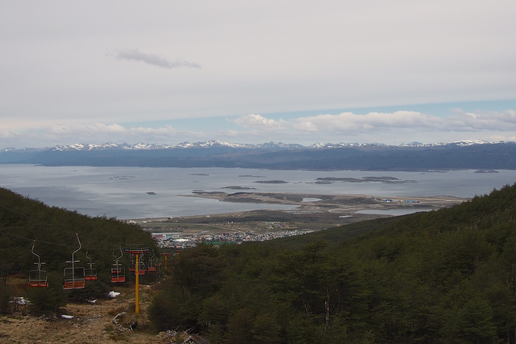 View of Ushuaia and its surroundings from the top of the chairlift