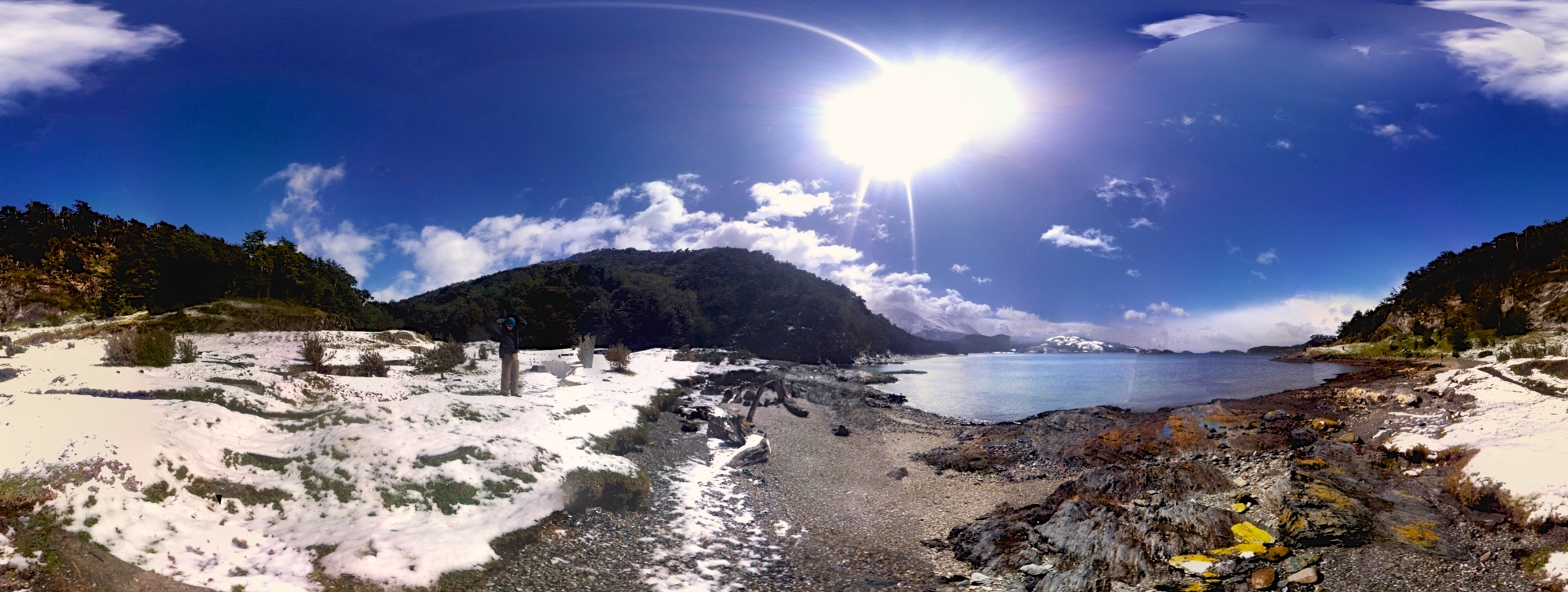Phone panorama: not the best quality but it gives a good idea of the landscape