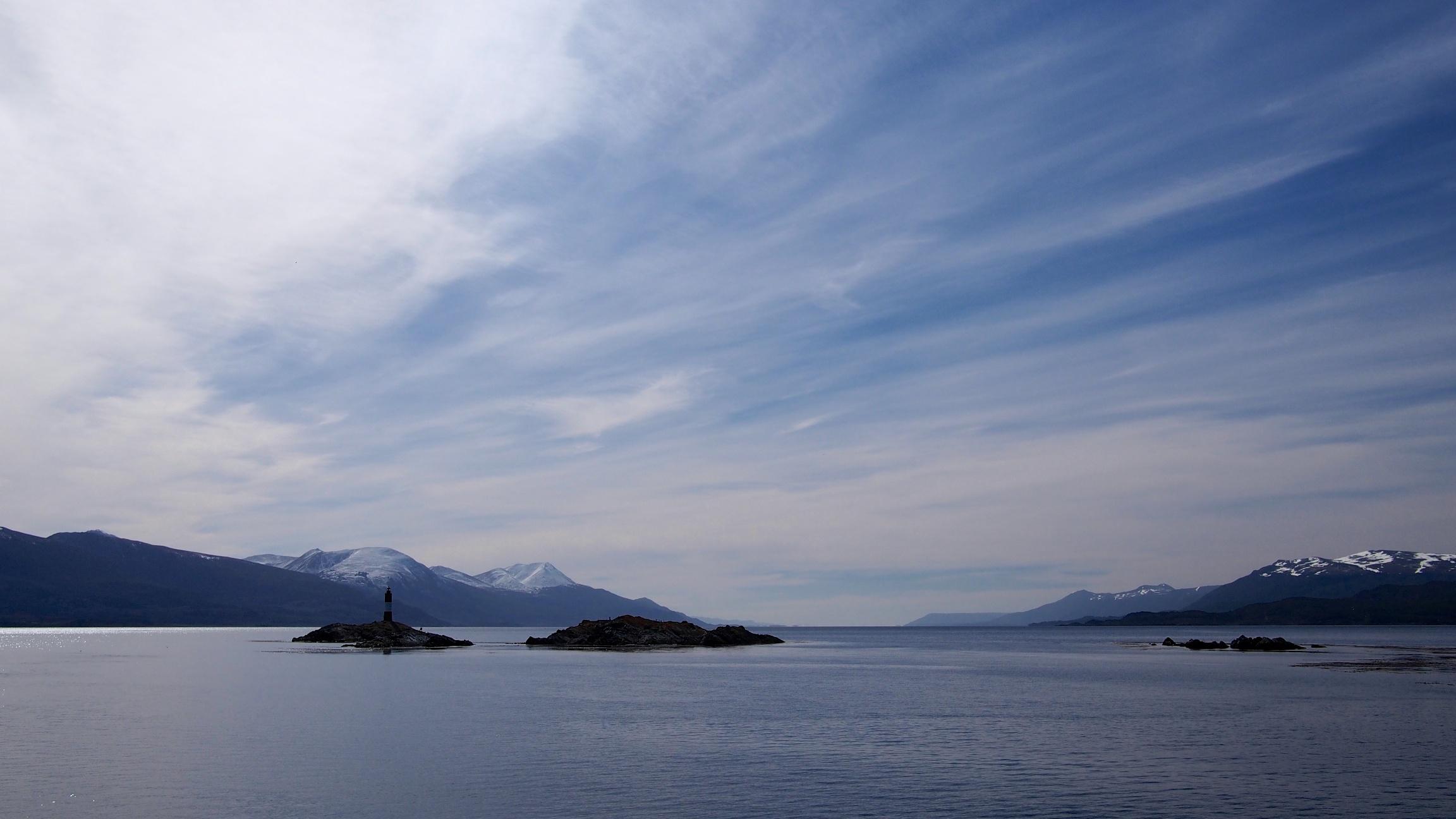 A distant shot of Les Eclaireurs Lighthouse
