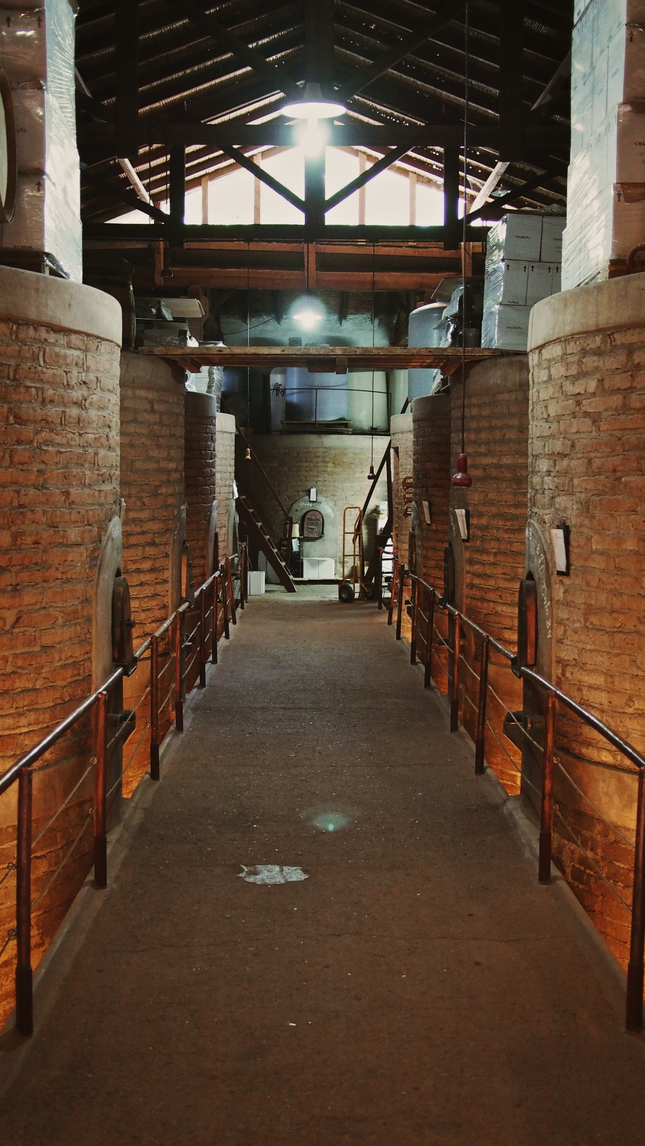 Though no longer in use, the original fermentation facilities remian intact