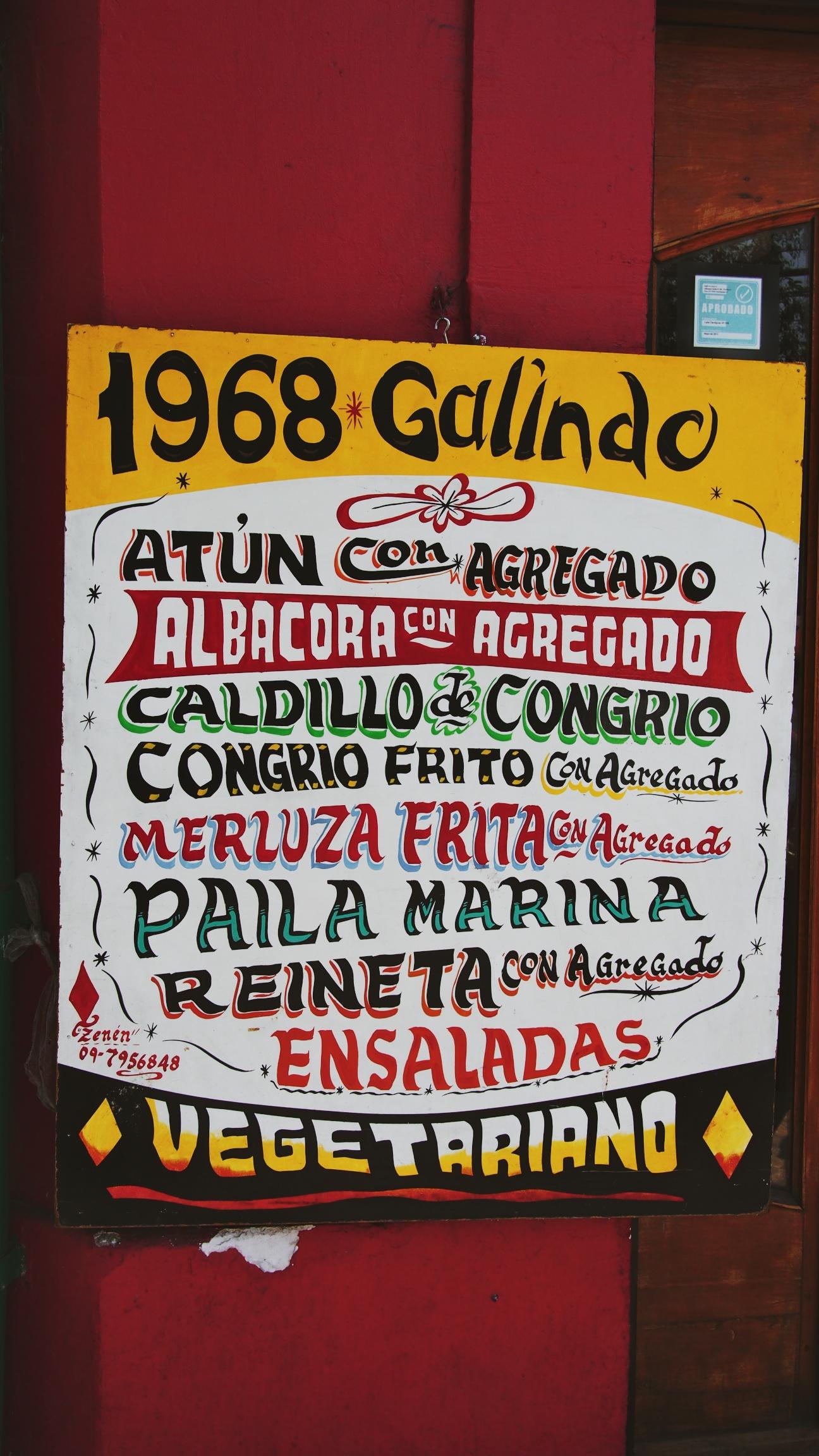 Menu at a traditional Chilean restaurant in Santiago