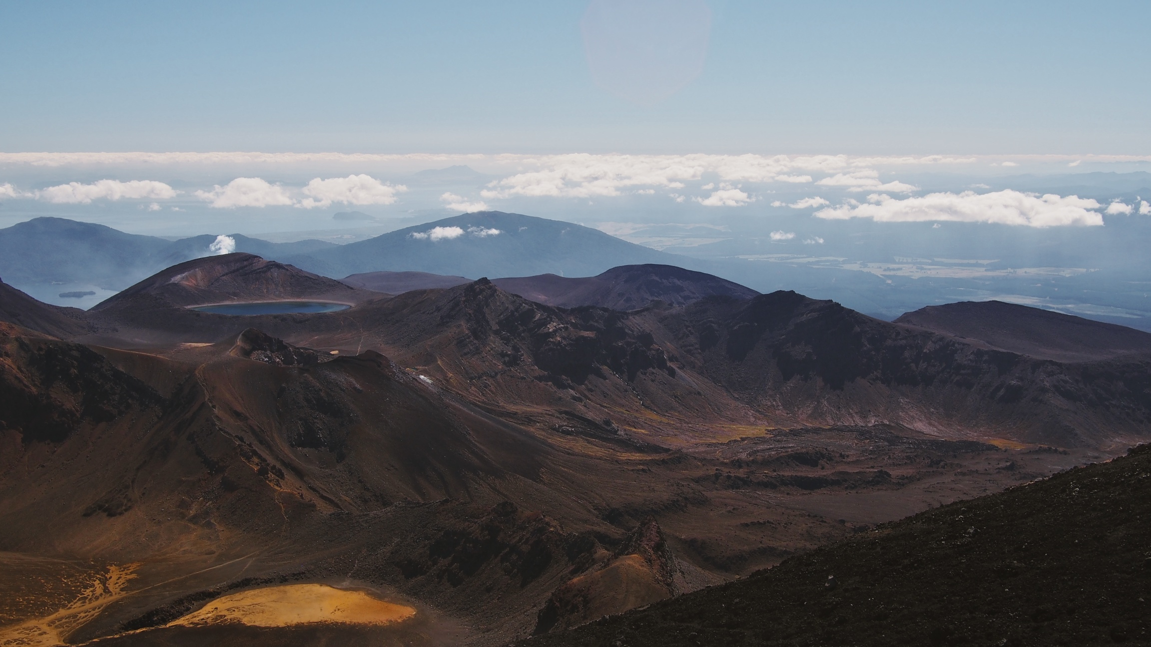 From the top of Mount Ngauruhoe, we caught a glimpse of the rest of the trail, including that blue circular lake, which we passed a few hours later.