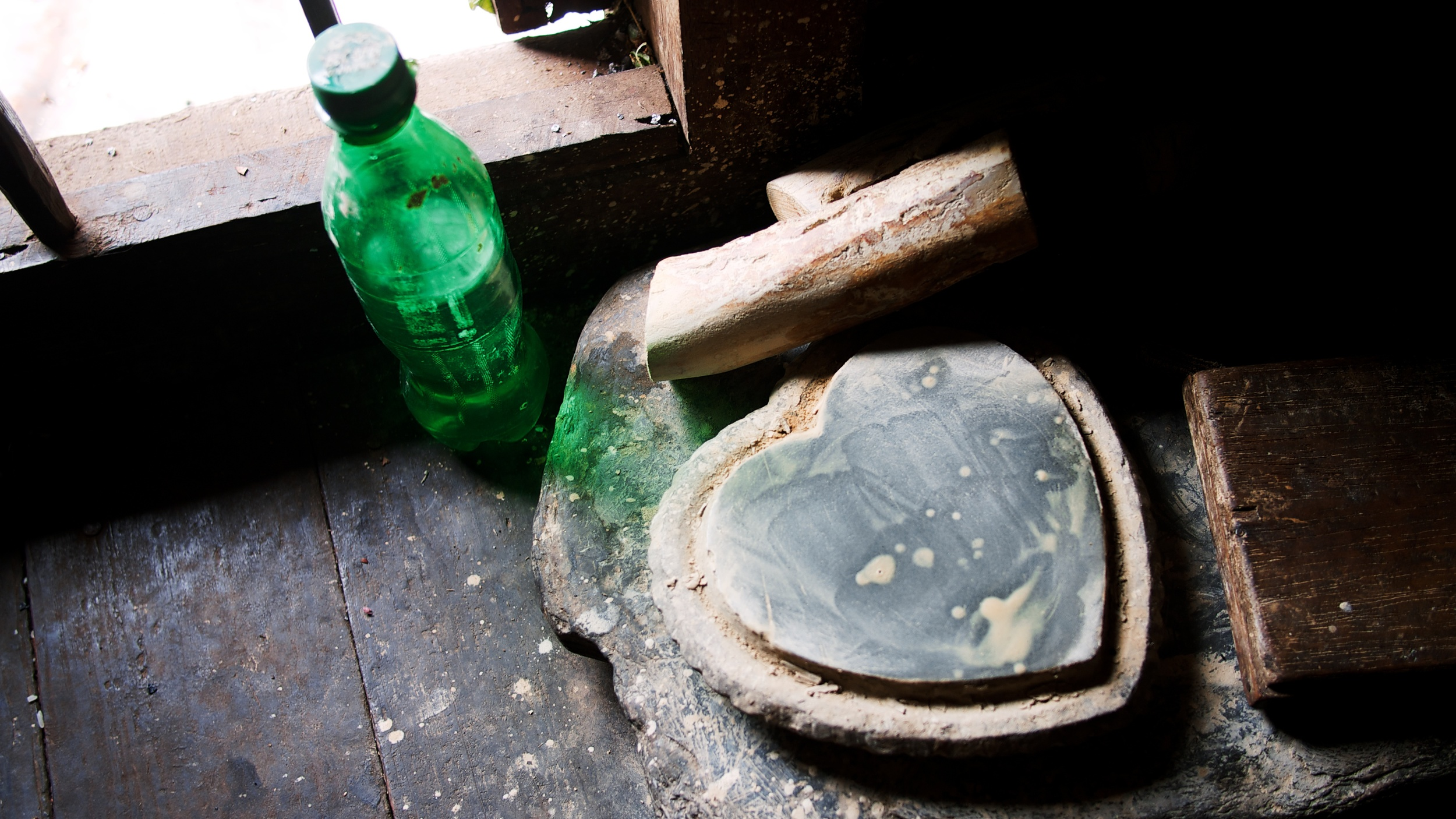 Tools used to produce thanaka, the face cream seen across myanmar