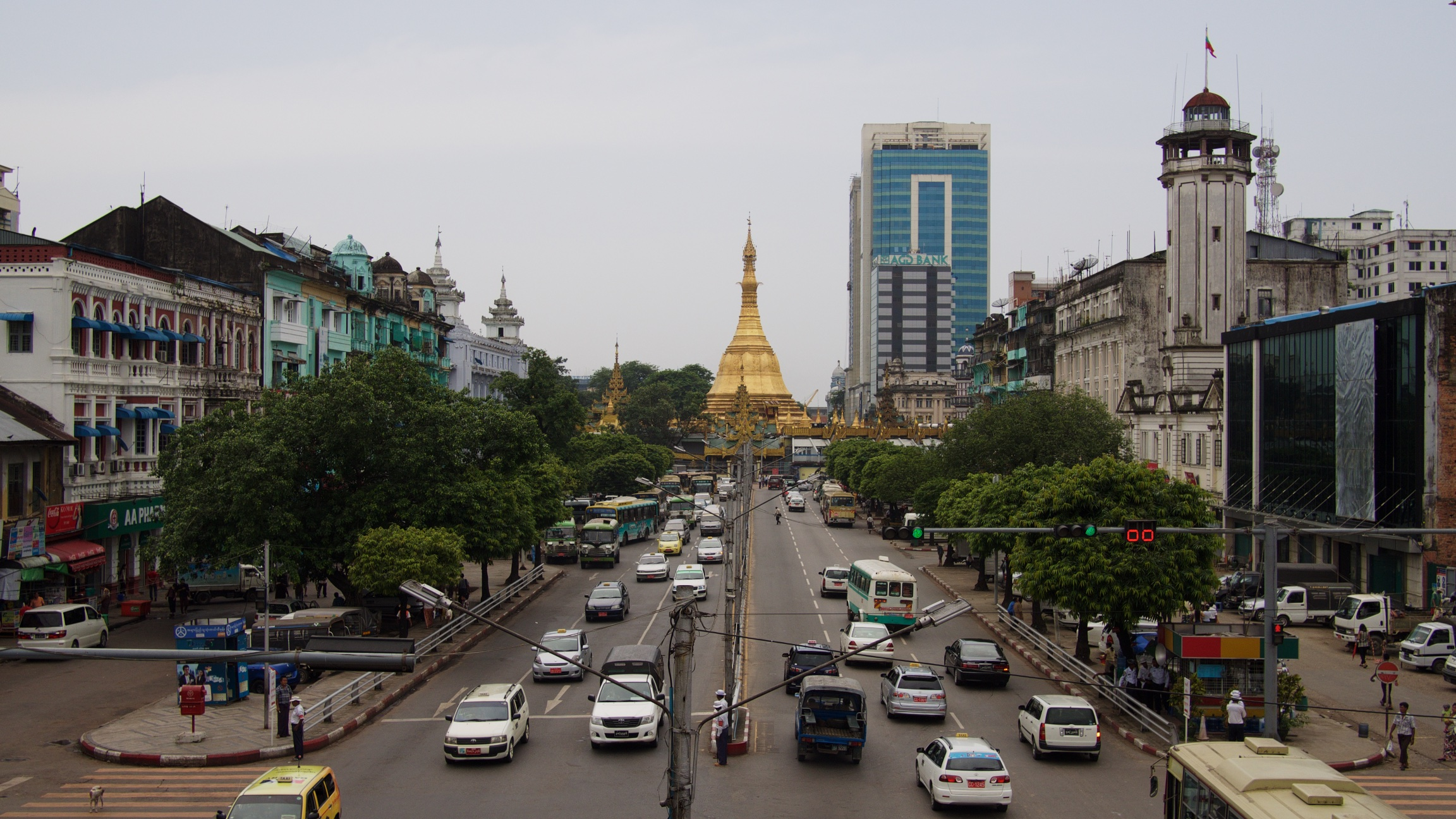 sule pagoda in the middle of downtown