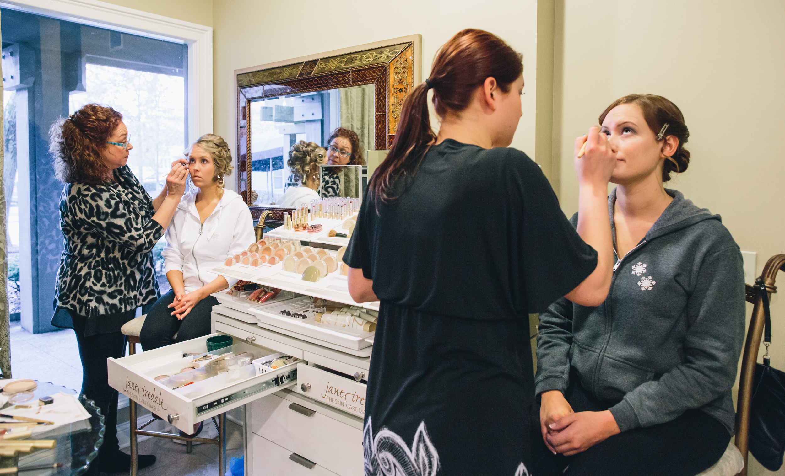 The bride and her Maid of Honor (another Katie) getting their makeup done together.