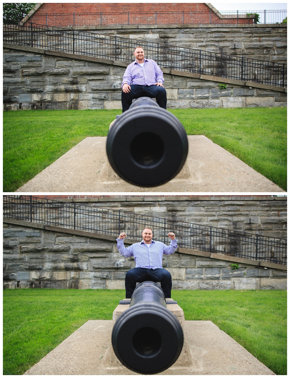 He just HAD to ride the cannon.