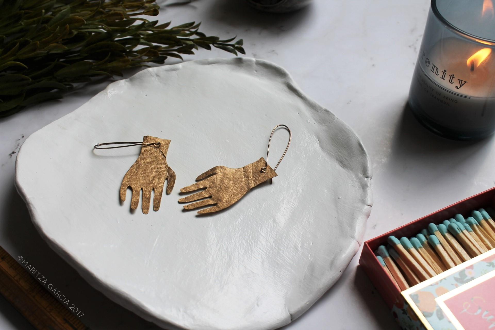 Silhouette Paper Hand Earrings DIY | maritzagarcia.website