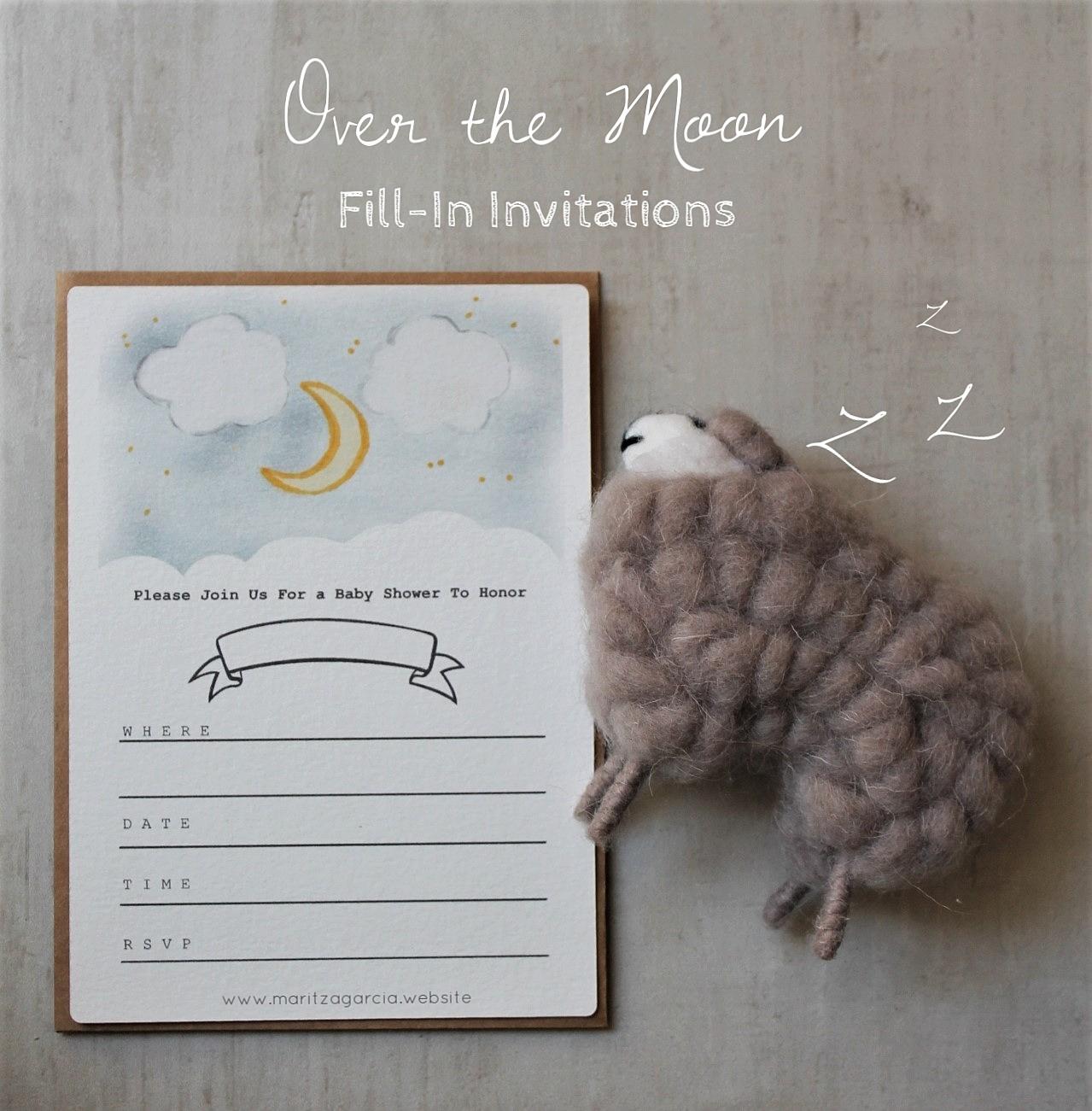Over the Moon Fill-In Invitations by Maritza Garcia | www.maritzagarcia.website