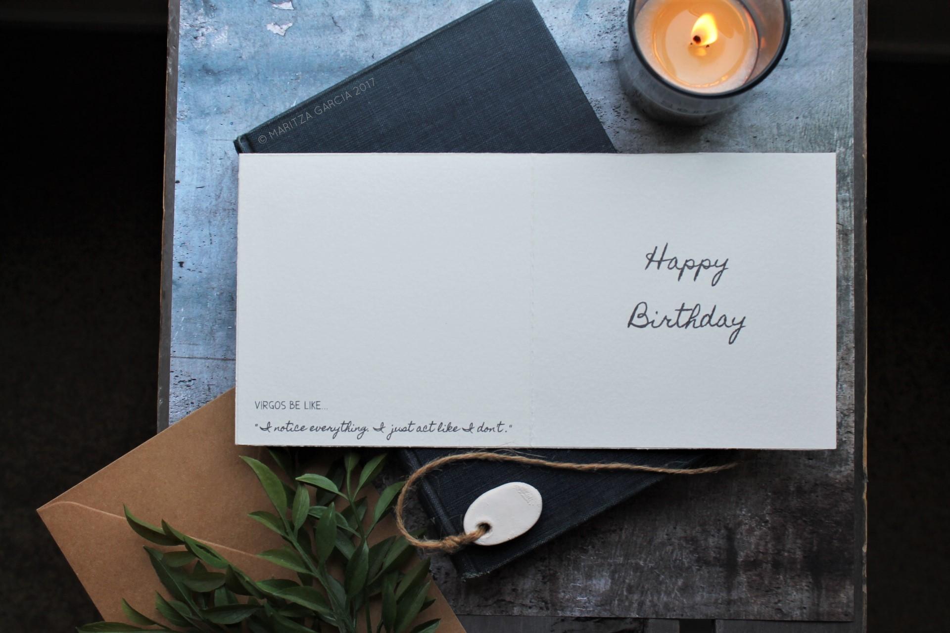 Virgo at Rest Birthday Card | www.maritzagarcia.website