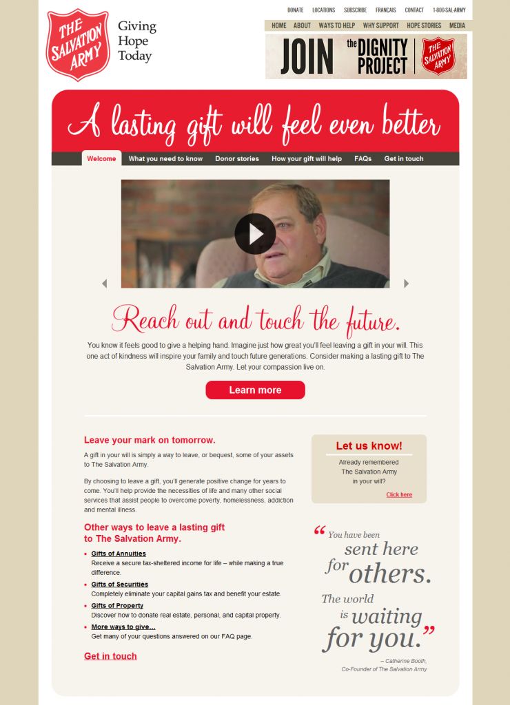 Salvation Army Canada - Make A Lasting Gift