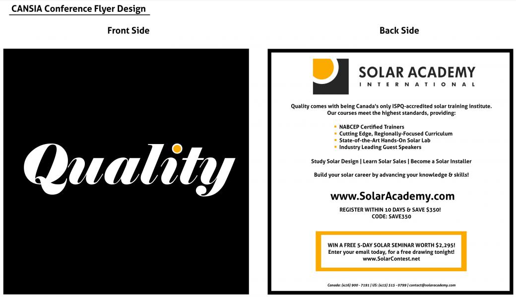 Ontario Solar Academy - CANSIA Conference 2011 Flyer Design
