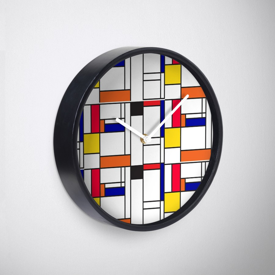 wall clock with Mondrian inspired maze pattern