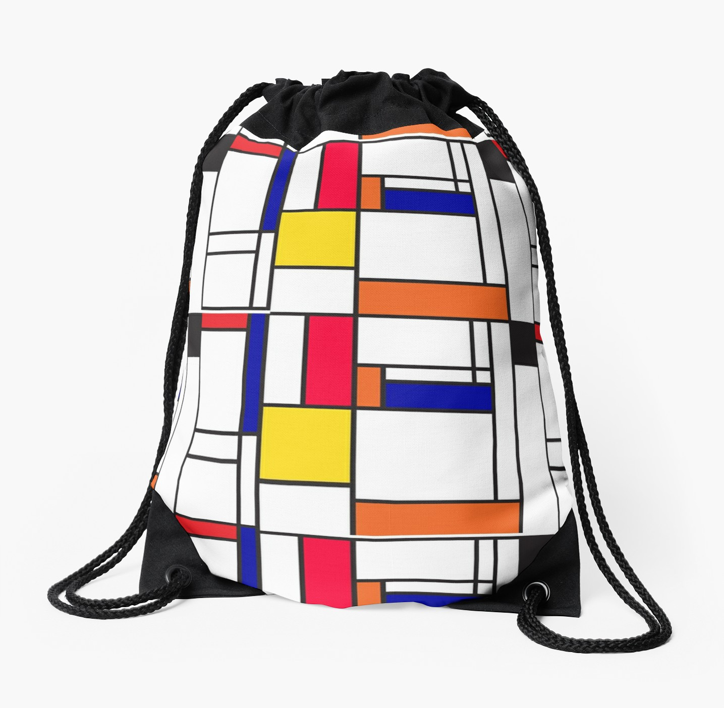 Mondrian inspired drawstring bag