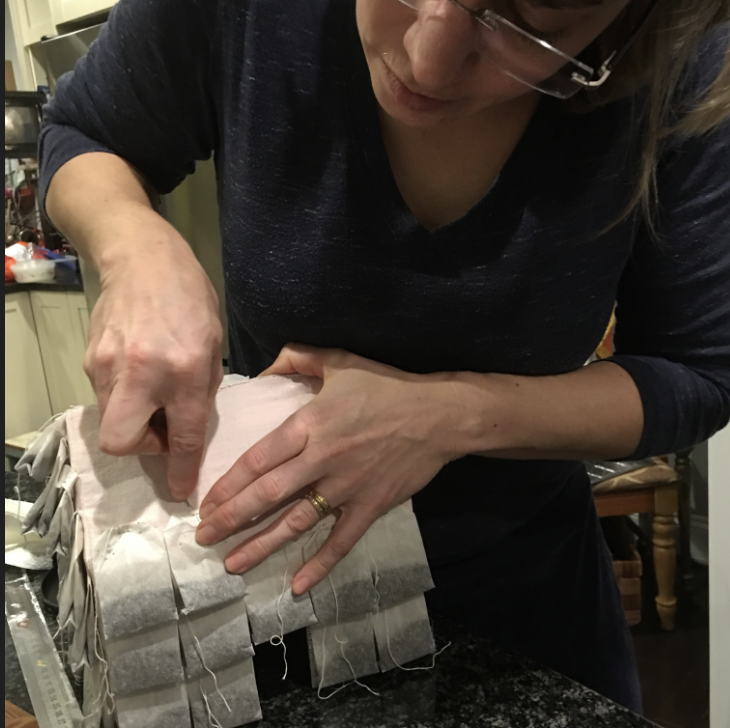 Sewing a teahouse sculpture in February 2018