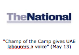 """Champ of the Camp gives UAE labourers a voice""  (May 13)"