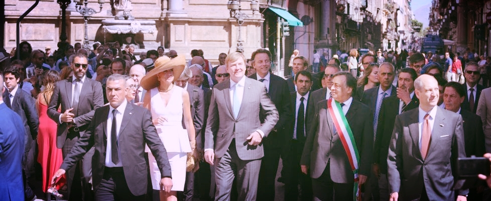 The Queen and King of Holland with Mayor Leoluca Orlando of Palermo.