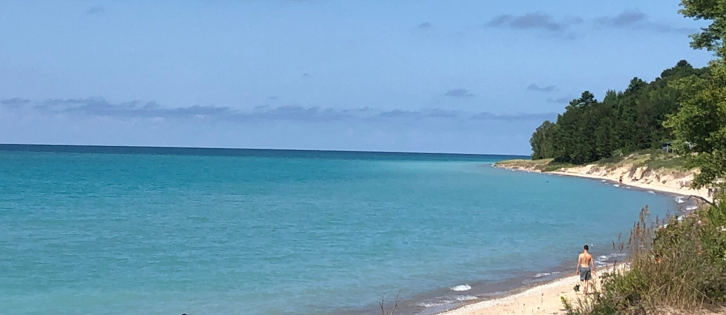 TURQUOISE blue water of Lake Michigan at CHRISTMAS Cove
