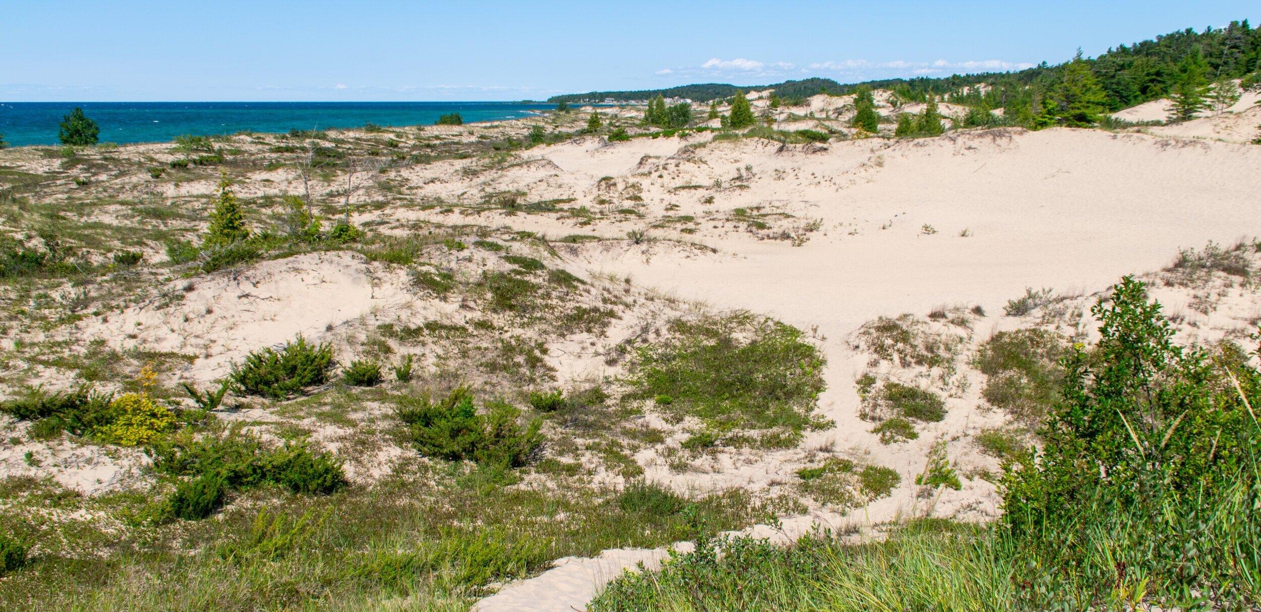 Dunes at the Leelanau State Park on cathead bay