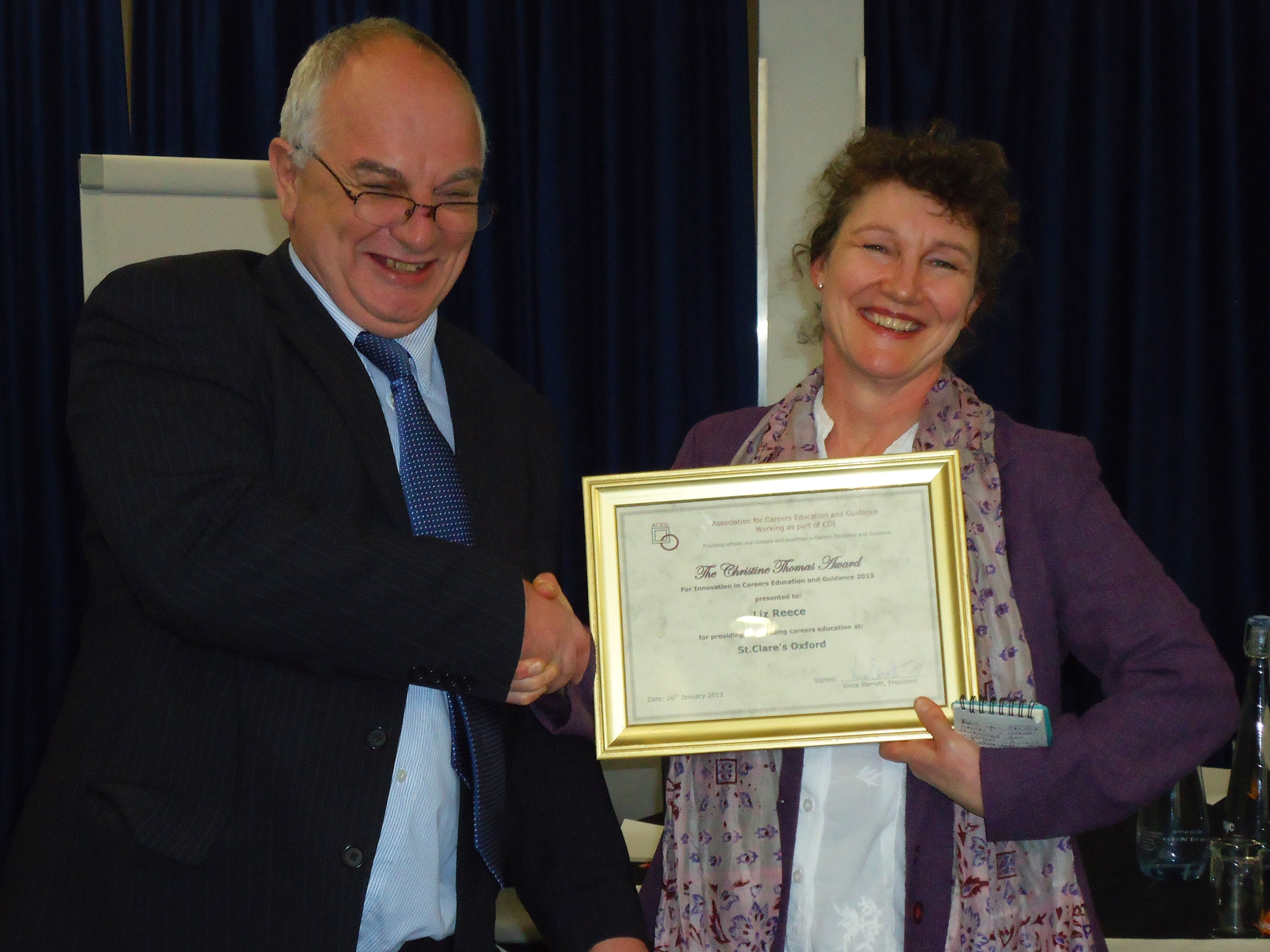 Liz receives national award for excellence and innovation in careers education and guidance