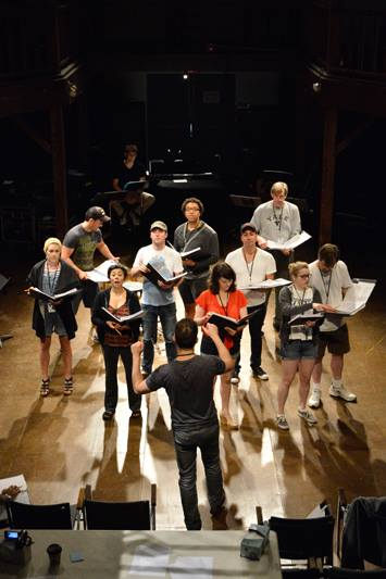 The O'Neill cast, led by director, Tim Seib, rehearsing the opening number for  The White City.  Photo by A. Vincent Scarano.
