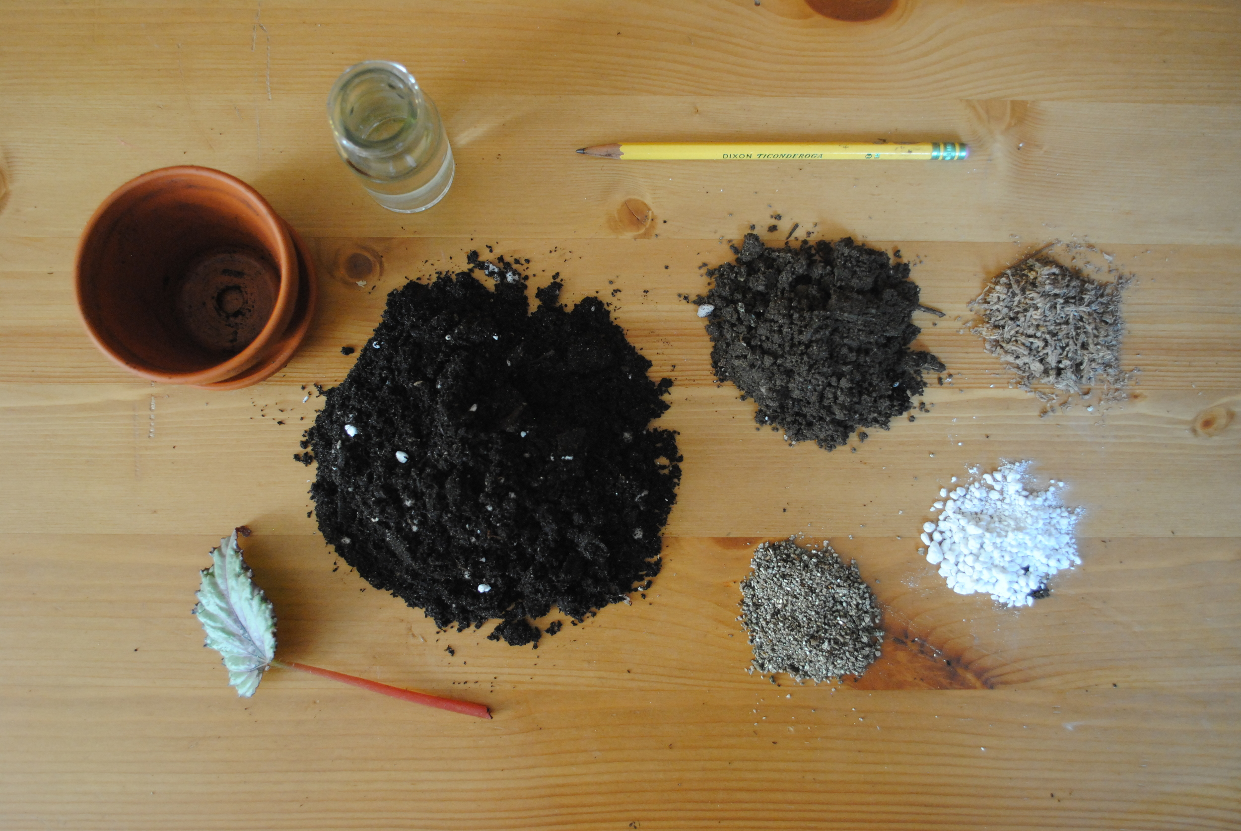 Soil components, clockwise from the left: potting soil, dumb soil, sphagnum moss, perlite, vermiculate. Also pictured: A pencil.