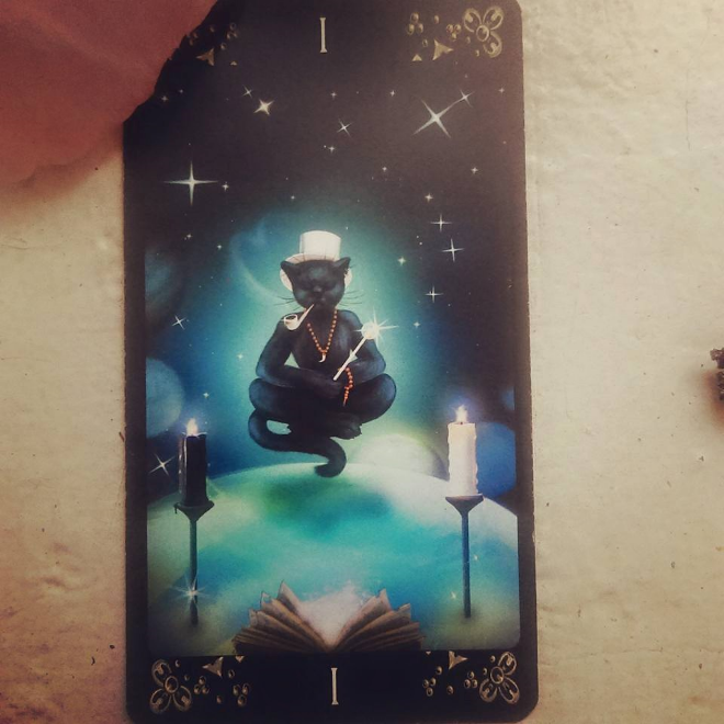 The Magican from The Black Cats Tarot Deck