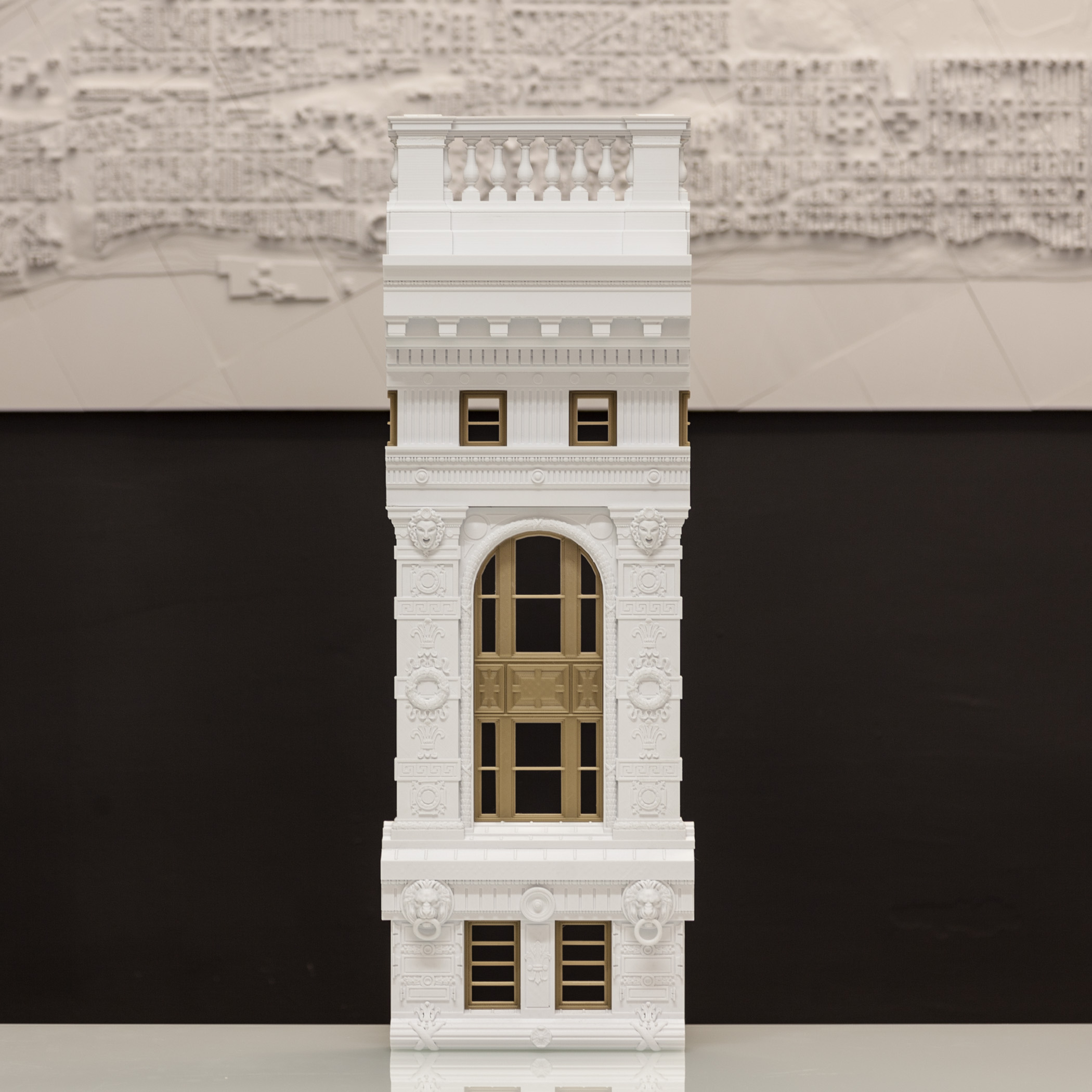 A section of the top four stories of the Flatiron Building's facade, 3D-printed from manually processed photogrammetry scan data.