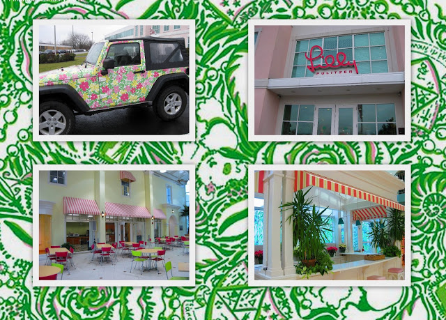 Scenes outside and inside The Pink Palace. Background: Kappa Delta print from the wildly popular new  sorority collection.