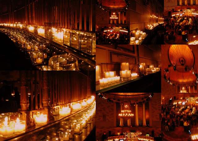 Entering the party: The glow of hundreds and hundreds of candles. These pics taken with my simple camera, don't even begin to capture the soothing, sexy ambiance. (Collage and photos:  Doreen Creede)