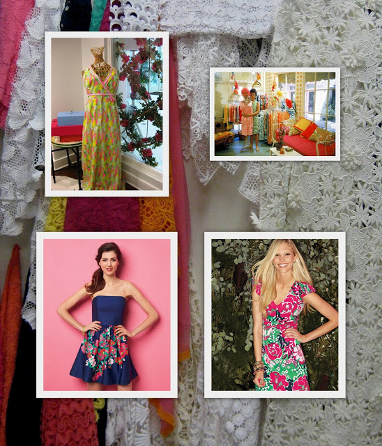 Clockwise above: an original Lilly dress, Lilly Pulitzer in her first shop, current looks. Background: lace inspirations in the Design Studio.