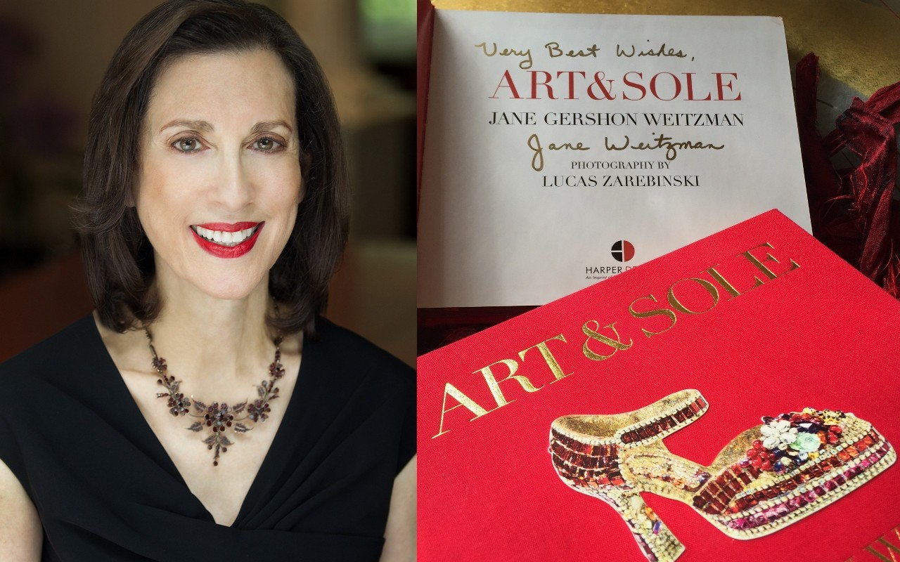 Jane Weitzman and her book on the Stuart Weitzman fantasy art shoe collection,  Art & Sole .