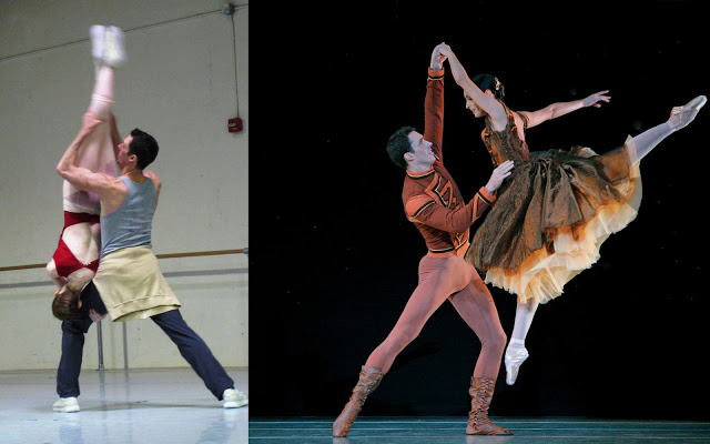 Soloist James Ihde in rehearsal with corps de ballet dancer Evelyn Kocak and onstage with principal dancer Riolama Lorenzo in Jerome Robbins'In The Night. (left photo: Doreen Creede / right photo: Paul Kolnik).