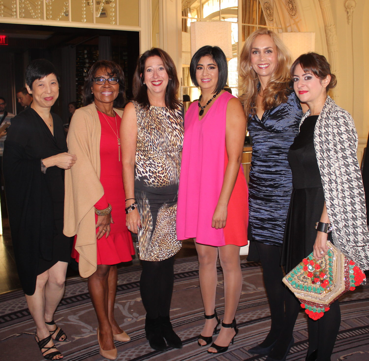 2015 Visionary Ellen Yin (left) and owner of Nicole Miller Philadelphia, Mary K. Dougherty (3rd from left),with 2015 XIX Women honorees Councilwoman Blondell Williams Brown, Alice Bast, Cecilia Torres and Nicole Paloux. (PHOTO: MKDA)