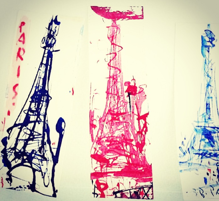 Paris eiffel tower trio by Aubrie Costello prayforparis