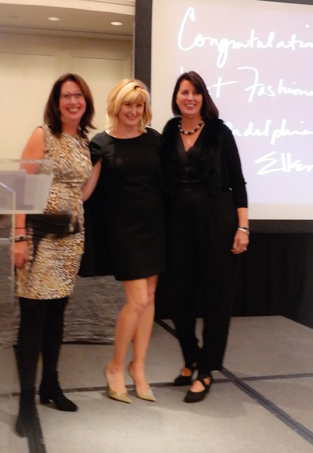Mary K. Dougherty (Nicole Miller Philadelphia) on stage with me (XIX Women honoree Doreen Creede) and Janice Waitkus (LAGOS). (PHOTO: Denise Schwemmer)