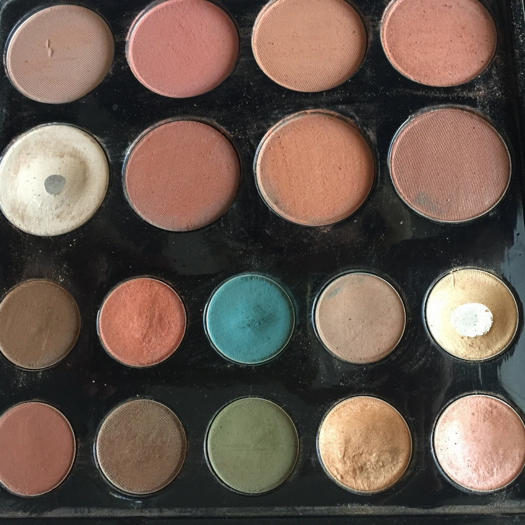 The Makeup Palette in use. As you can see the golds, peacock and copper are faves.