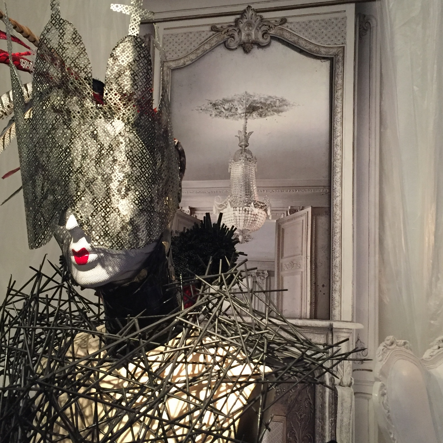 CONRAD BOOKER bamboo stick corset and lace painted metal perforated cathedral glasses. PHOTO: Doreen Creede